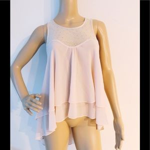 New bebe high low blush pink top blouse XS S